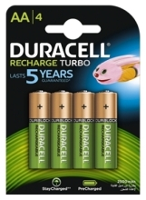 4 x Duracell Recharge Turbo  R6 2500mAh AA